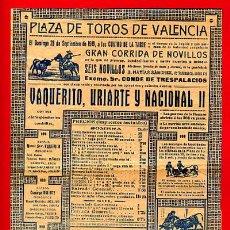 Tauromaquia: CARTEL TOROS VALENCIA , 1919 , CORRIDA DE NOVILLOS, PEQUEÑO. Lote 21635661