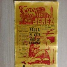 Tauromaquia: CARTEL DE TOROS EN SEDA. JEREZ, CADIZ. XXVII FERIA DE LA VENDIMIA DEL SHERRY, SEPTIEMBRE 1974.. Lote 22045940
