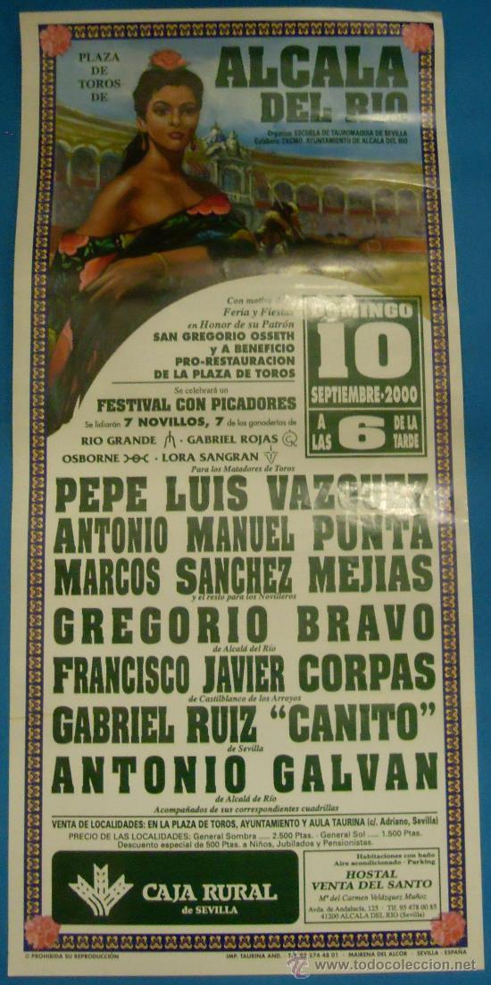 CARTEL DE TOROS. PLAZA DE ALCALA DEL RIO. A BENEFICIO DE LA RESTAURACION DE SU PLAZA. AÑO 2000. (Coleccionismo - Tauromaquia)