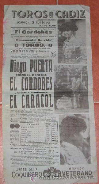 CARTEL DE CORRIDA EN LA PLAZA DE TOROS DE CÁDIZ, PRESENTACION DE EL CORDOBÉS, DE 1963 (Coleccionismo - Tauromaquia)