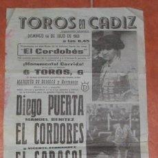 Tauromaquia: CARTEL DE CORRIDA EN LA PLAZA DE TOROS DE CÁDIZ, PRESENTACION DE EL CORDOBÉS, DE 1963. Lote 22563051