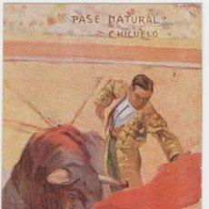 Tauromaquia: TARJETA POSTAL TOREROS CÉLEBRES: CHICUELO, PASE NATURAL. EDITORIAL COLL SALIETI, DIBUJO DE C. RUANO . Lote 27616056