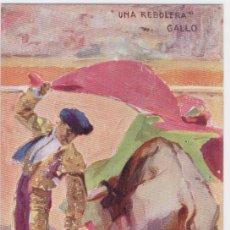 Tauromaquia: TARJETA POSTAL TOREROS CÉLEBRES: GALLO, UNA REBOLERA. EDITORIAL COLL SALIETI, DIBUJO DE C. RUANO. Lote 27616057