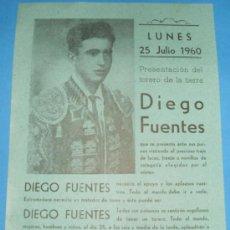 Tauromaquia: CARTEL DE TOROS. PRESENTACION DEL TORERO EXTREMEÑO DIEGO FUENTES. JULIO DE 1960. Lote 23695177