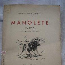 Tauromaquia: 1948.VARELA CID (MARIA DA GRAÇA): MANOLETE POEMA. JOSE MARIA PEMAN. LISBOA. Lote 23969076