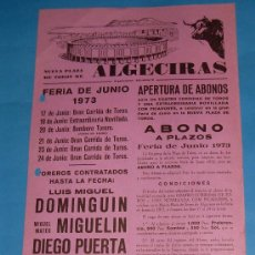 Tauromaquia: CARTEL DE TOROS. PLAZA DE ALGECIRAS. FERIA DE JUNIO 1973.. Lote 24960121