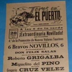 Tauromaquia: CARTEL DE TOROS. PLAZA DEL PUERTO. EXTRAORDINARIA NOVILLADA. AÑO 1974.. Lote 25084592