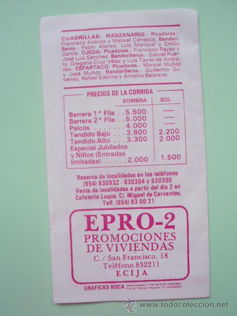 Tauromaquia: Prrograma de la plaza de Toros de Ecija de 1.987 - Foto 3 - 25206622