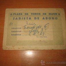 Tauromaquia: PLAZA DE TOROS DE GIJON TARJETA DE ABONO 1965. Lote 25480003