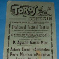 Tauromaquia: CARTEL DE TOROS. PLAZA DE CEHEGIN. ANTOÑETE, PEDRES, JUAN MONTERO, VICTORIANO DE LA SERNA...AÑO 1957. Lote 26045767