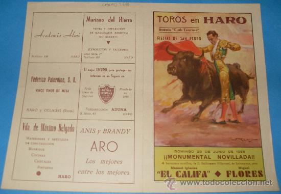 CARTEL DE TOROS. PLAZA DE HARO. MANUEL IGLESIAS EL CALIFA Y MIGUEL FLORES. AÑO 1958. (Coleccionismo - Tauromaquia)