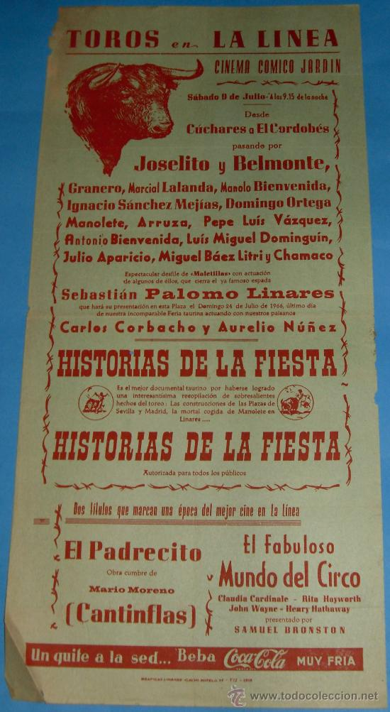 CARTEL DE TOROS. PLAZA DE LA LINEA. CINEMA COMICO JARDIN. AÑO 1959. (Coleccionismo - Tauromaquia)