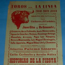 Tauromaquia: CARTEL DE TOROS. PLAZA DE LA LINEA. CINEMA COMICO JARDIN. AÑO 1959.. Lote 26067499
