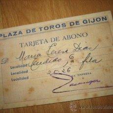 Tauromaquia: PLAZA DE TOROS DE GIJON TARJETA DE ABONO 1946 RENOVADA HASTA 1948. Lote 26129798