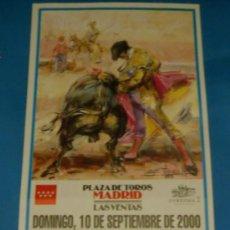Tauromaquia: CARTEL DE TOROS. PLAZA DE MADRID. ANTONIO BRICIO, REYES MENDOZA Y SERGIO MARTINEZ. AÑO 2000.. Lote 26403988