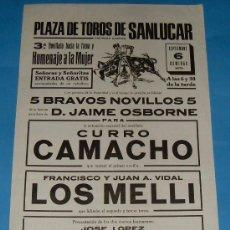 Tauromaquia: CARTEL DE TOROS. PLAZA DE SANLUCAR DE BDA. CURRO CAMACHO, LOS MELLI, EL TROMPO Y CARDEÑO II. 1970.. Lote 26845449