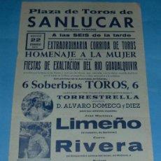 Tauromaquia: CARTEL DE TOROS. PLAZA DE SANLUCAR DE BDA. LIMEÑO, CURRO RIVERA Y RAFAEL TORRES. AÑO 1971.. Lote 26845868
