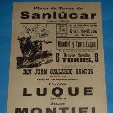 Tauromaquia: CARTEL DE TOROS. PLAZA DE SANLUCAR DE BDA. CURRO LUQUE, JUAN MONTIEL, MANOLO GONZALEZ. AÑO 1973.. Lote 26856162