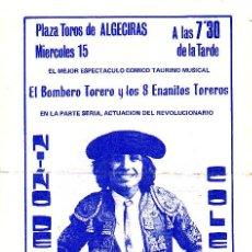 Tauromaquia: PROGRAMA TAURINO CARTEL DE MANO. EL BOMBERO TORERO CT-088. Lote 27063308