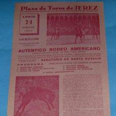 Tauromaquia: CARTEL DE TOROS. PLAZA DE JEREZ DE LA FRA. ESPECTACULO DE AUTENTICO RODEO AMERICANO. AÑO 1960.. Lote 27217253