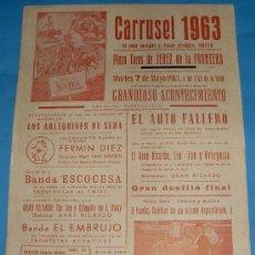 Tauromaquia: CARTEL DE TOROS. PLAZA DE JEREZ DE LA FRA. ESPECTACULO CARRUSEL 1963.. Lote 27233578