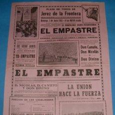 Tauromaquia: CARTEL DE TOROS. PLAZA DE JEREZ DE LA FRA. ESPECTACULO TAURINO EL EMPASTRE. AÑO 1966.. Lote 27328160