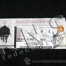 Tauromaquia: ENTRADA PLAZA TOROS - LA MAESTRANZA DE SEVILLA - TIQUE TICKET BILLETE - TORO TAUROMAQUIA - ANDALUCÍA. Lote 26339380