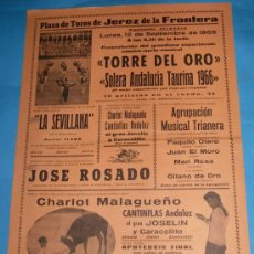 Tauromaquia: CARTEL DE TOROS. PLAZA DE JEREZ DE LA FRA. GRAN ESPECTACULO COMICO-MUSICAL. AÑO 1966.. Lote 27329990