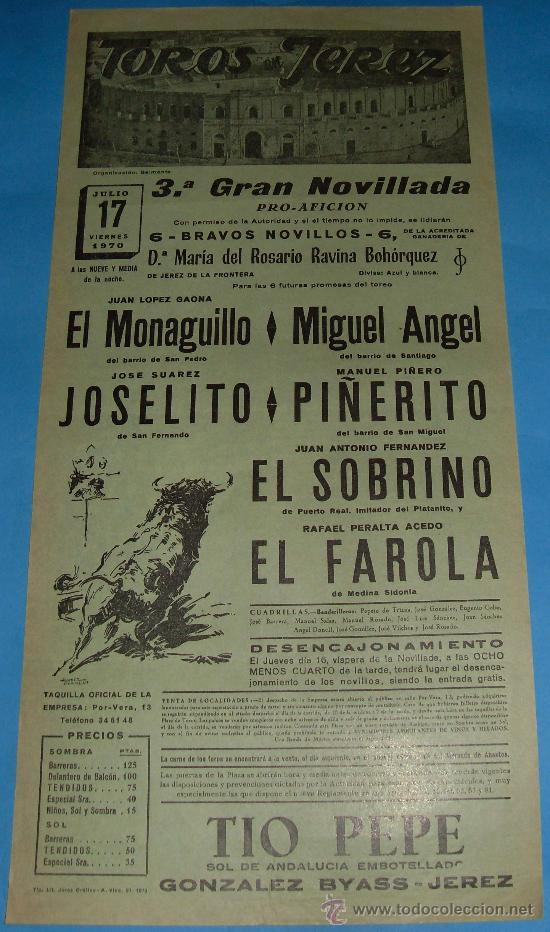 CARTEL DE TOROS. PLAZA DE JEREZ DE LA FRA. EL MONAGUILLO, MIGUEL ANGEL, JOSELITO...AÑO 1970. (Coleccionismo - Tauromaquia)