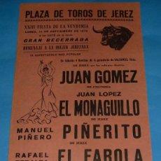 Tauromaquia: CARTEL DE TOROS. PLAZA DE JEREZ DE LA FRA. JUAN GOMEZ, EL MONAGUILLO, PIÑERITO Y EL FAROLA. AÑO 1970. Lote 27356779