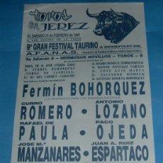 Tauromaquia: CARTEL DE TOROS. PLAZA DE JEREZ DE LA FRA. 9º FETSIVAL TAURINO BENEFICO A FAVOR DE AFANAS. AÑO 1987.. Lote 27371185