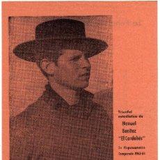 Tauromaquia: EL CORDOBES - MAGNIFICO CUADRO ESTADISTICO DE CORRIDAS CELEBRADAS EN HISPANOAMERICA 1963-64. Lote 27451408