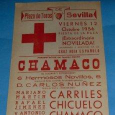 Stierkampf - CARTEL DE TOROS. PLAZA DE SEVILLA. CORRIDA A BENEFICIO DE CRUZ ROJA ESPAÑOLA. AÑO 1956. - 27646517