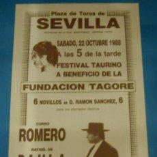 Tauromaquia: CARTEL DE TOROS. PLAZA DE SEVILLA. CURRO ROMERO, RAFAEL DE PAULA, CURRO CARO...AÑO 1988.. Lote 87659342