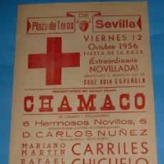 Stierkampf - CARTEL DE TOROS. PLAZA DE SEVILLA. CORRIDA A BENEFICIO DE LA CRUZ ROJA. AÑO 1956. - 27732995