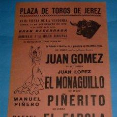 Tauromaquia: CARTEL DE TOROS. PLAZA DE JEREZ. EL MONAGUILLO, PIÑERITO Y EL FAROLA. AÑO 1970.. Lote 27733113