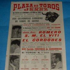 Tauromaquia: CARTEL DE TOROS. PLAZA DE JEREZ. XX FIESTA DE LA VENDIMIA Y DEL VINO DE JEREZ. AÑO 1967.. Lote 141602401