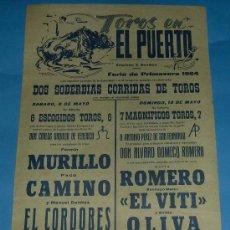 Tauromaquia: CARTEL DE TOROS. PLAZA DEL PUERTO. FERIA DE PRIMAVERA 1964.. Lote 27806248