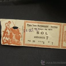 Tauromaquia: ENTRADA - PLAZA DE TOROS MONUMENTAL - BARCELONA - 1971 - . Lote 27815644