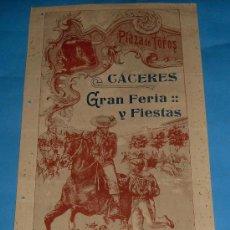 Tauromaquia: CARTEL DE TOROS. PLAZA DE CACERES. FERIA DE GANADOS Y FIESTAS EN LA CIUDAD. AÑO 1918.. Lote 28087332
