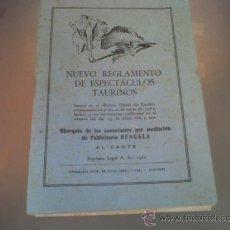 Tauromaquia: NUEVO REGLAMENTO DE ESPECTACULOS TAURINOS PUBLICIDAD BENGALA ALICANTE 1962 TOROS. Lote 28604394