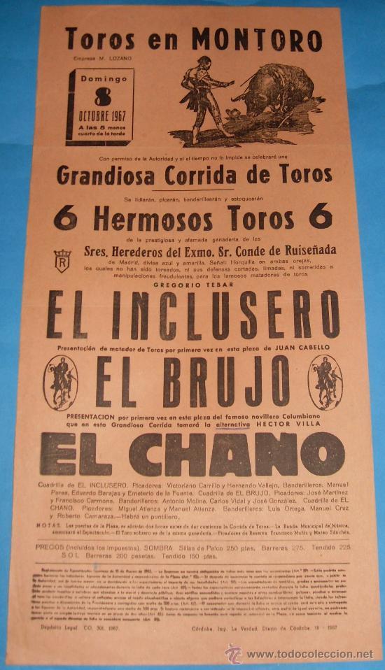CARTEL DE TOROS. PLAZA DE MONTORO. EL INCLUSERO, EL BRUJO Y EL CHANO. AÑO 1967. (Coleccionismo - Tauromaquia)