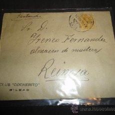 Tauromaquia: SOBRE DEL CLUB COCHERITO DE BILBAO, CON TORO EN DORSO, CIRCULADO EN 1919. Lote 29378212