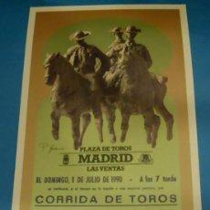 Tauromaquia: CARTEL DE TOROS. PLAZA DE MADRID. LUIS REINA, ANTONIO MONDEJAR Y PEDRO LARA. AÑO 1990.. Lote 29398895