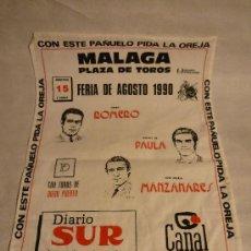 Tauromaquia: PAÑUELO DE TOROS - FERIA AGOSTO MÁLAGA 1990 - CURRO ROMERO - RAFAEL DE PAULA - JOSE M. MANZANARES. Lote 31619426