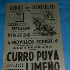 Tauromaquia: CARTEL DE TOROS. PLAZA DE SANLUCAR DE BDA. CURRO PUYA, LIMEÑO Y RAFAEL DE PAULA. AÑO 1959.. Lote 29750265