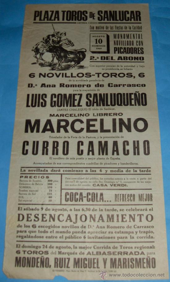 CARTEL DE TOROS. PLAZA DE SANLUCAR DE BDA. LUIS GOMEZ SANLUQUEÑO, MARCELINO Y CURRO CAMACHO. 1969. (Coleccionismo - Tauromaquia)