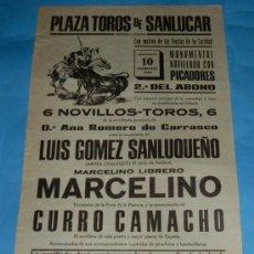 Tauromaquia: CARTEL DE TOROS. PLAZA DE SANLUCAR DE BDA. LUIS GOMEZ SANLUQUEÑO, MARCELINO Y CURRO CAMACHO. 1969.. Lote 29758901