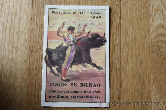 TOROS EN BILBAO, AGOSTO 1949. DÍPTICO 21.3 X 13.8. (Coleccionismo - Tauromaquia)