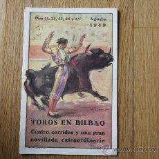 Tauromaquia: TOROS EN BILBAO, AGOSTO 1949. DÍPTICO 21.3 X 13.8.. Lote 30315851